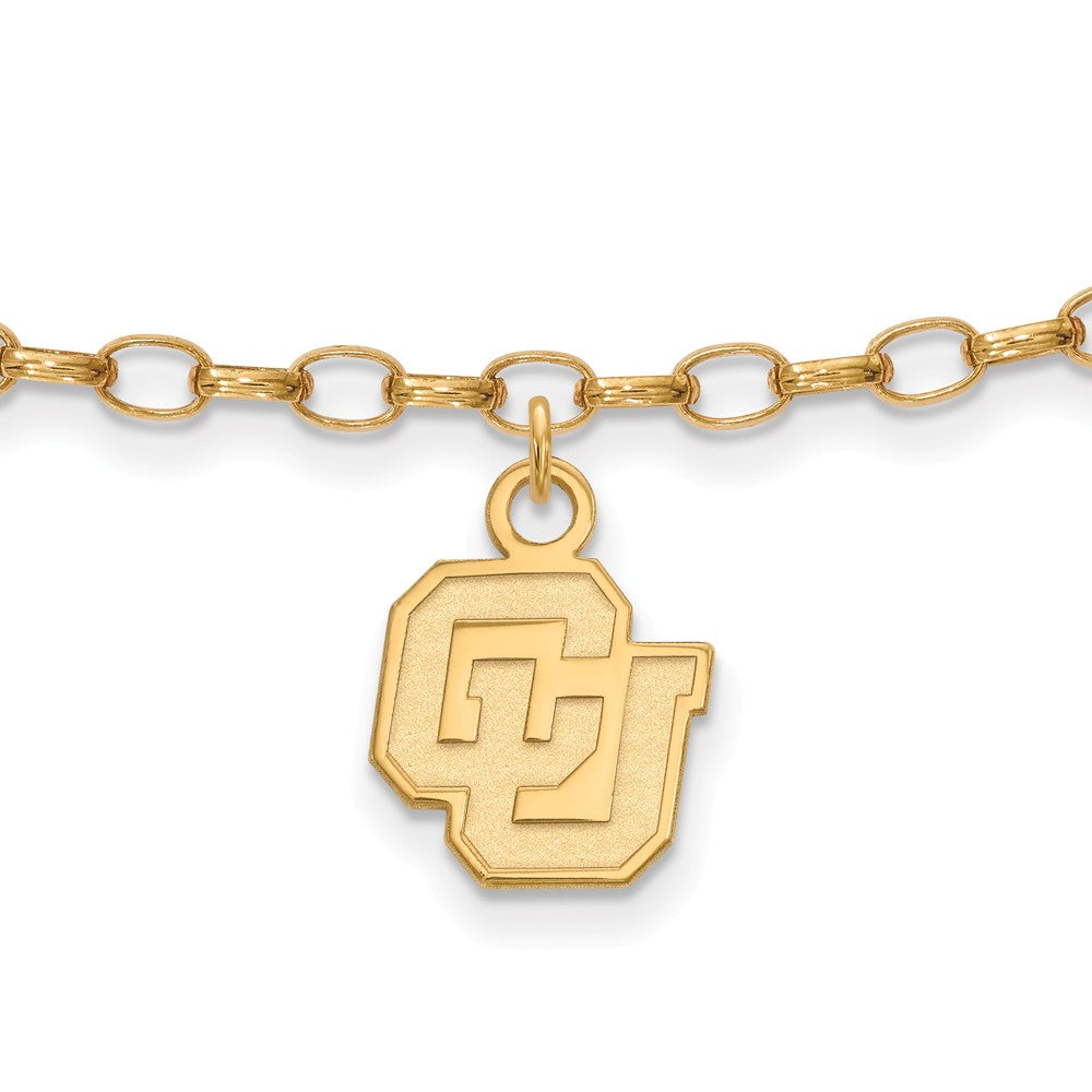 NCAA 14k Gold Plated Silver University of Colorado Anklet, 9 Inch, Item A8753 by The Black Bow Jewelry Co.