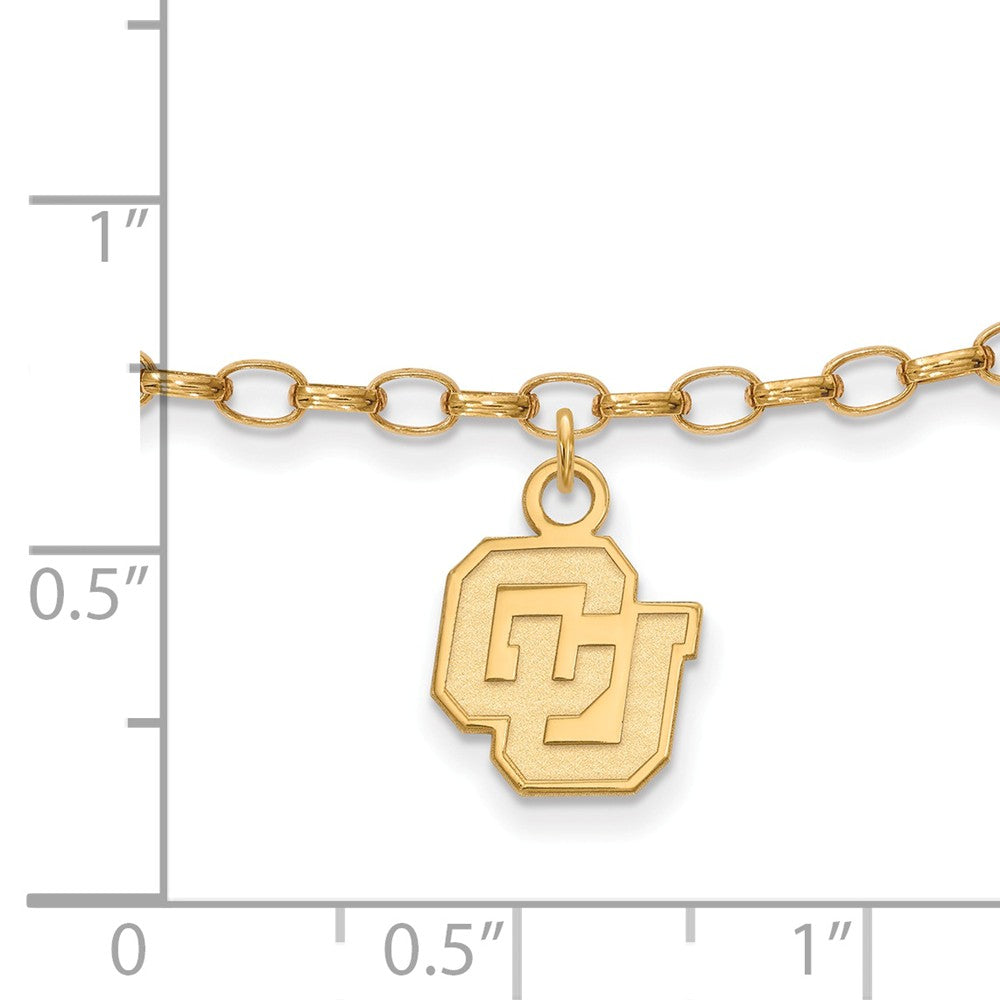 Alternate view of the NCAA 14k Gold Plated Silver University of Colorado Anklet, 9 Inch by The Black Bow Jewelry Co.
