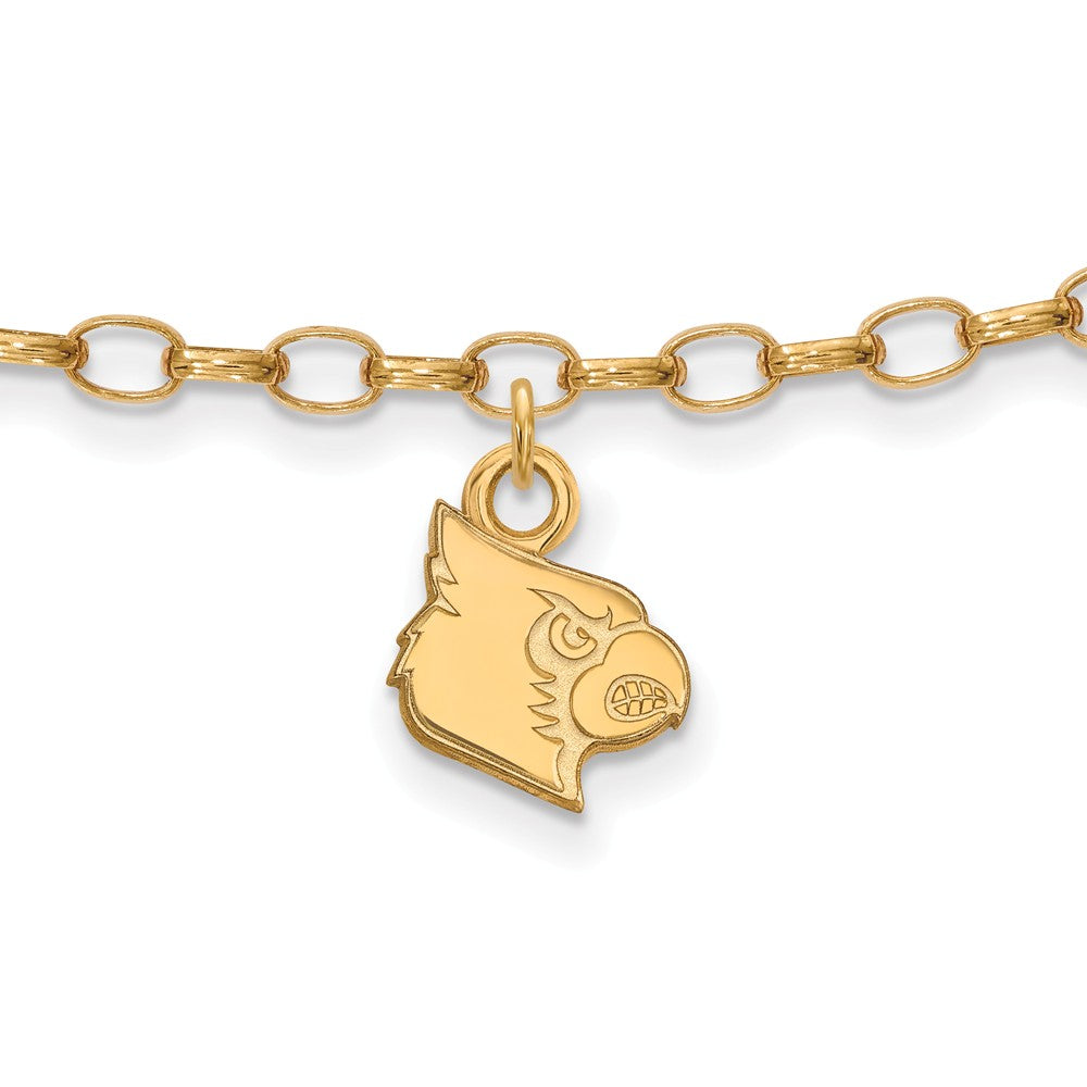 14k Gold Plated Silver University of Louisville Anklet, 9 Inch, Item A8754 by The Black Bow Jewelry Co.