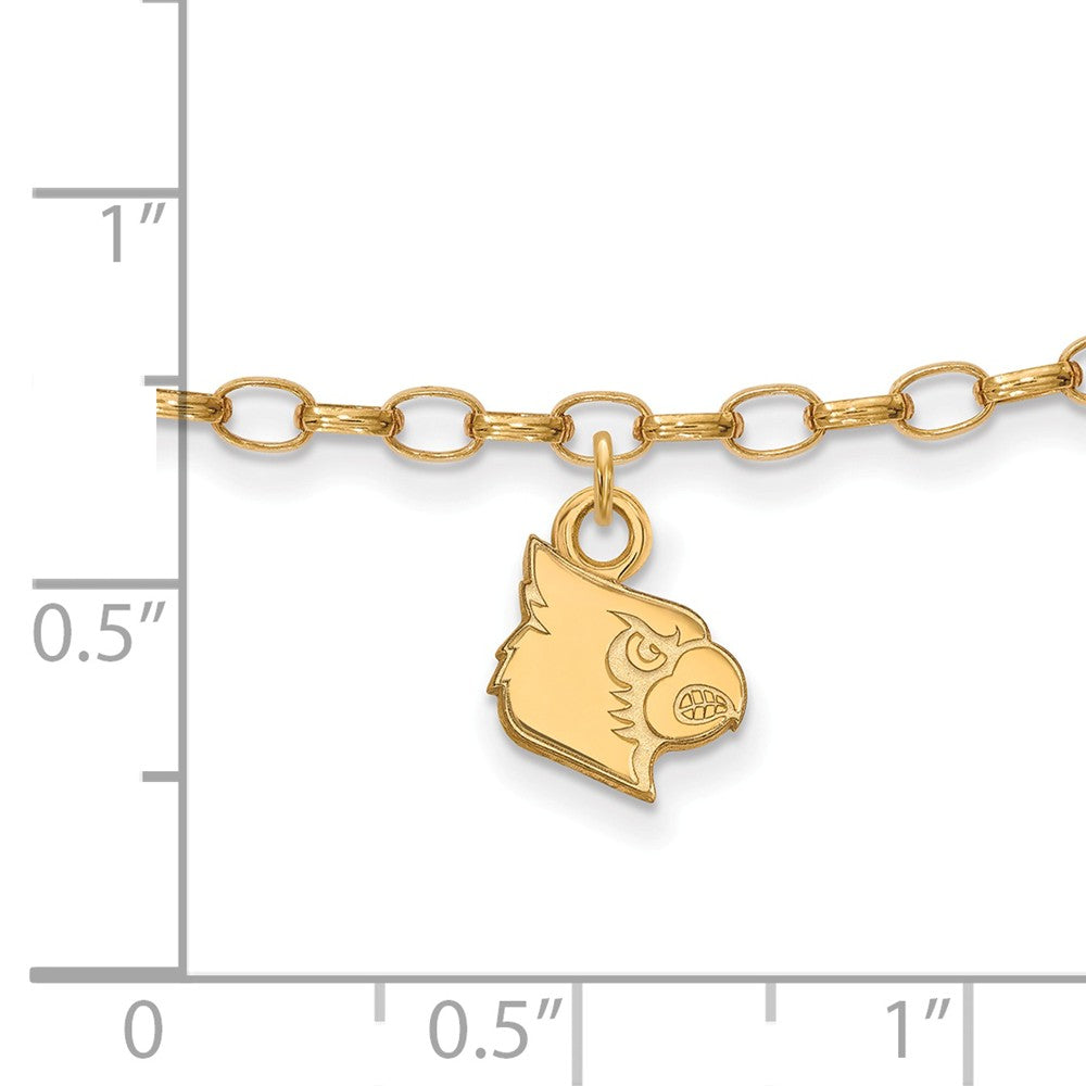 Alternate view of the 14k Gold Plated Silver University of Louisville Anklet, 9 Inch by The Black Bow Jewelry Co.
