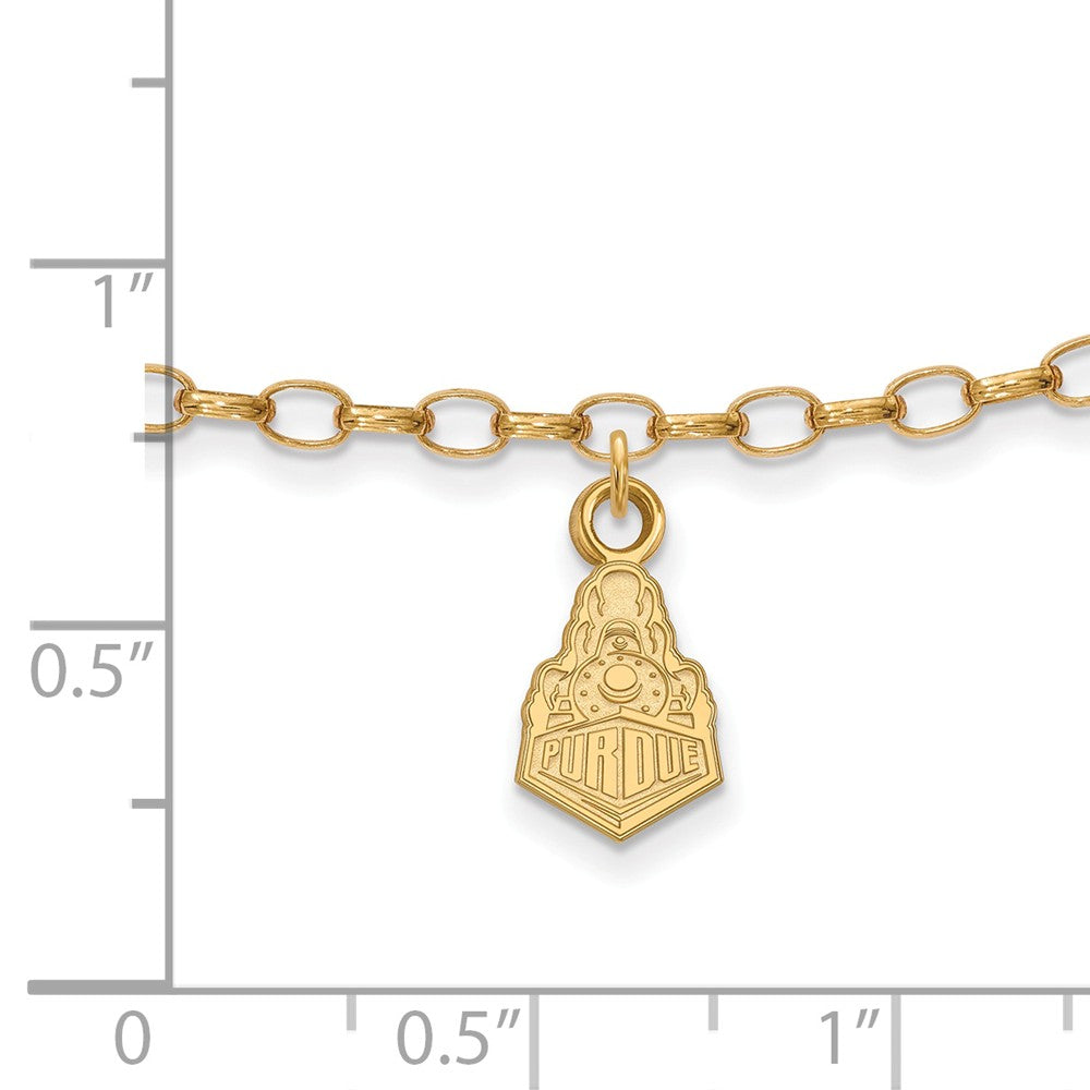 Alternate view of the NCAA 14k Gold Plated Sterling Silver Purdue Anklet, 9 Inch by The Black Bow Jewelry Co.