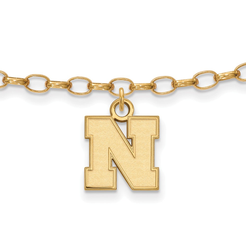 NCAA 14k Gold Plated Silver University of Nebraska XS Anklet, 9 Inch, Item A8756 by The Black Bow Jewelry Co.