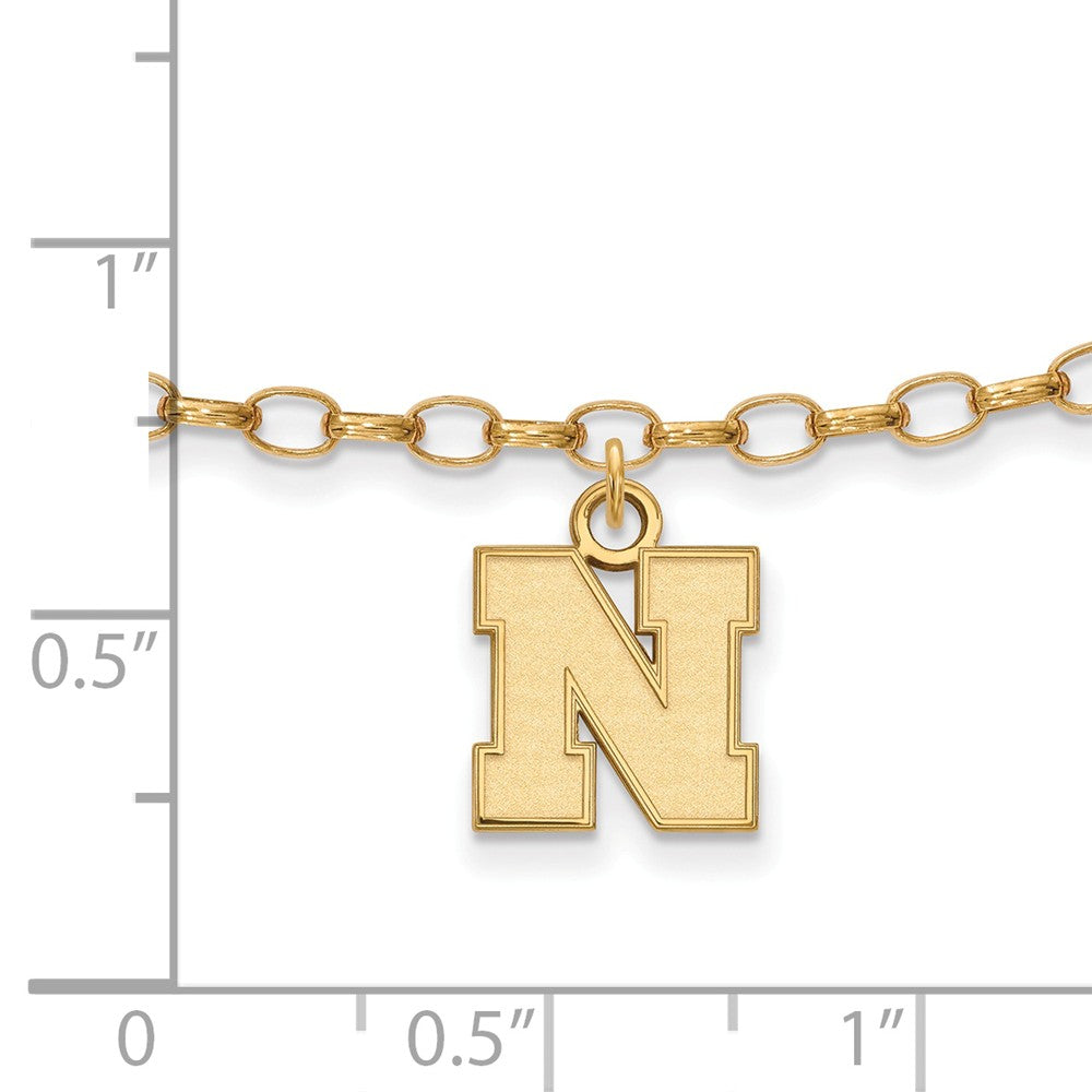 Alternate view of the NCAA 14k Gold Plated Silver University of Nebraska XS Anklet, 9 Inch by The Black Bow Jewelry Co.
