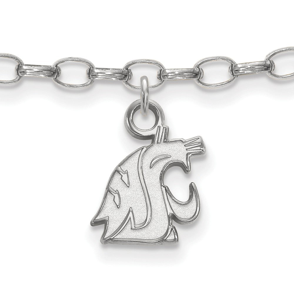NCAA Sterling Silver Washington State Anklet, 9 Inch, Item A8757 by The Black Bow Jewelry Co.
