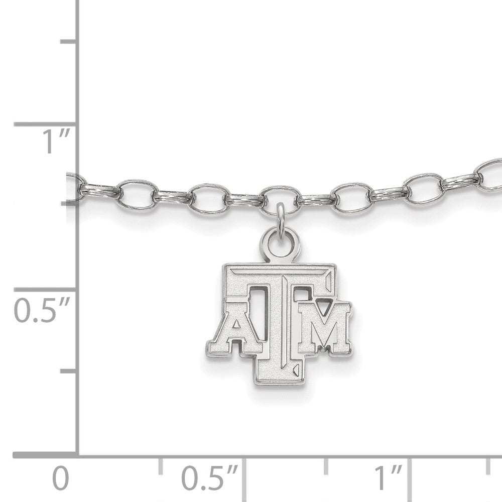 Alternate view of the NCAA Sterling Silver Texas AAndM University Anklet, 9 Inch by The Black Bow Jewelry Co.