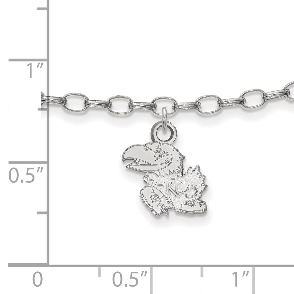 Alternate view of the NCAA Sterling Silver University of Kansas Anklet, 9 Inch by The Black Bow Jewelry Co.