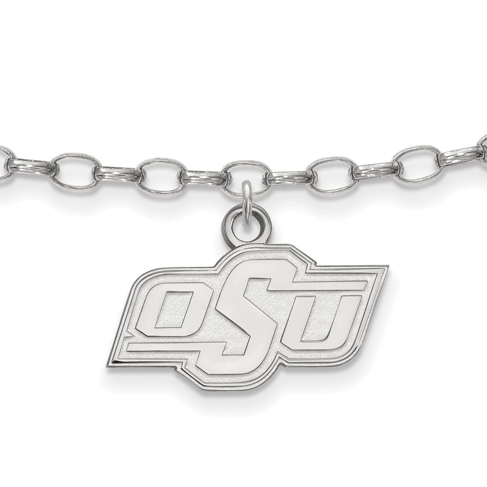Sterling Silver Oklahoma State University Anklet, 9 Inch, Item A8769 by The Black Bow Jewelry Co.