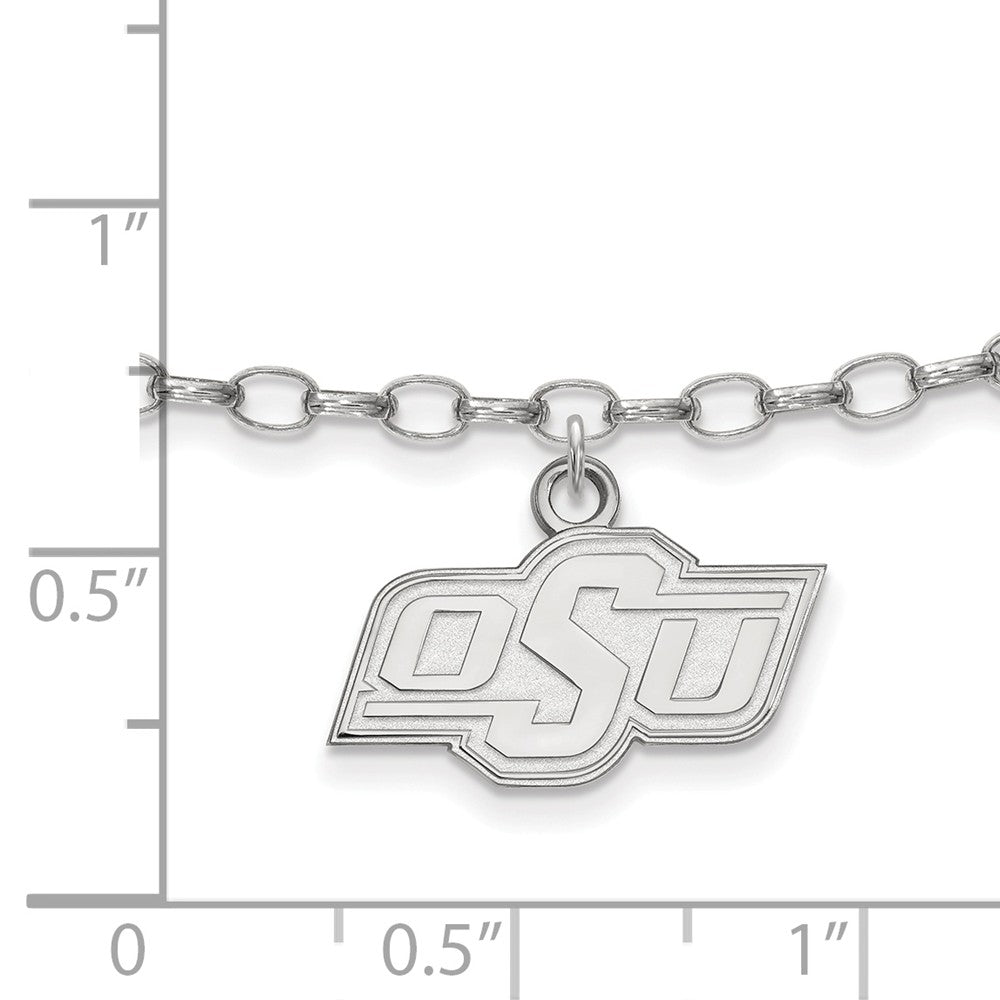 Alternate view of the NCAA Sterling Silver Oklahoma State University Anklet, 9 Inch by The Black Bow Jewelry Co.