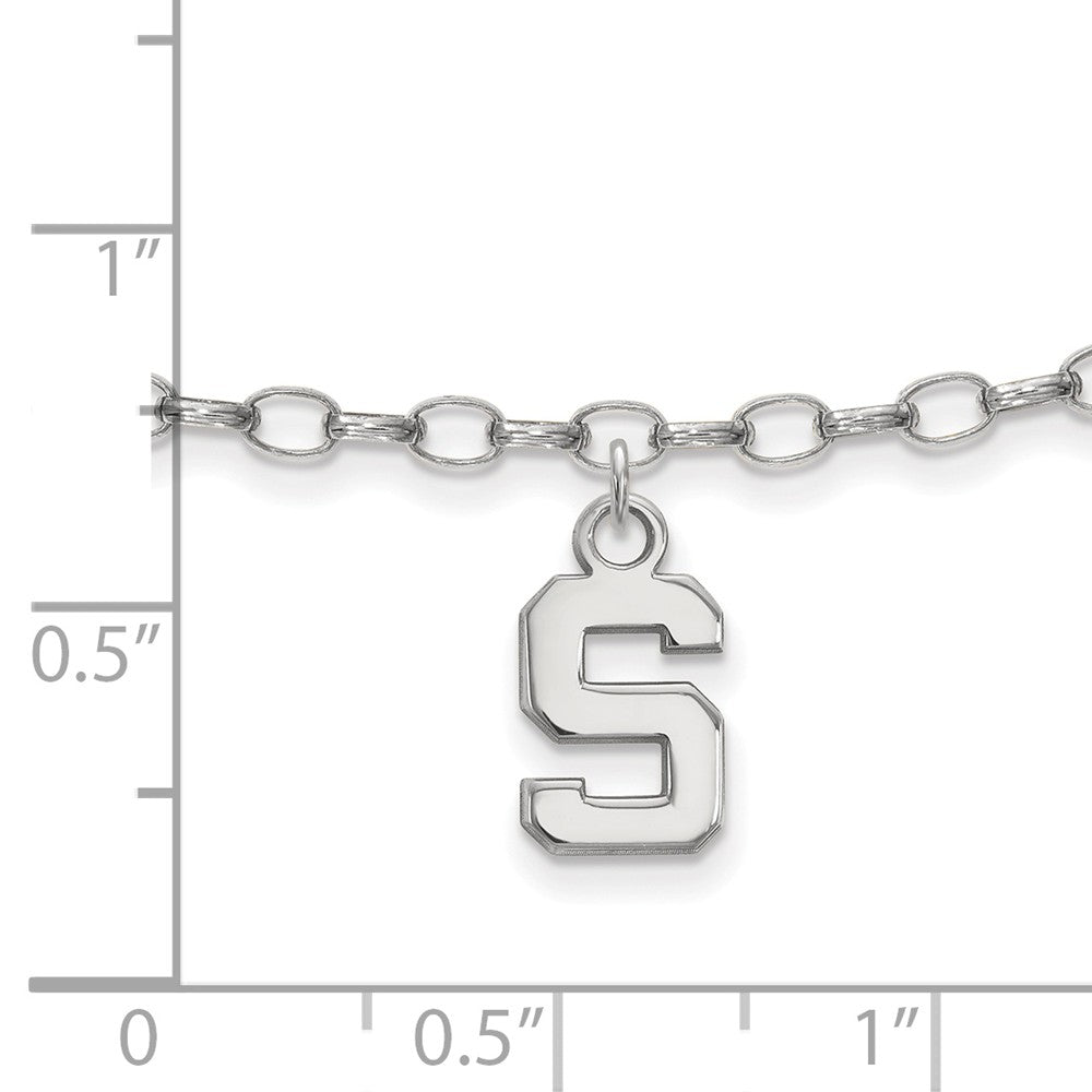 Alternate view of the NCAA Sterling Silver Michigan State University Anklet, 9 Inch by The Black Bow Jewelry Co.