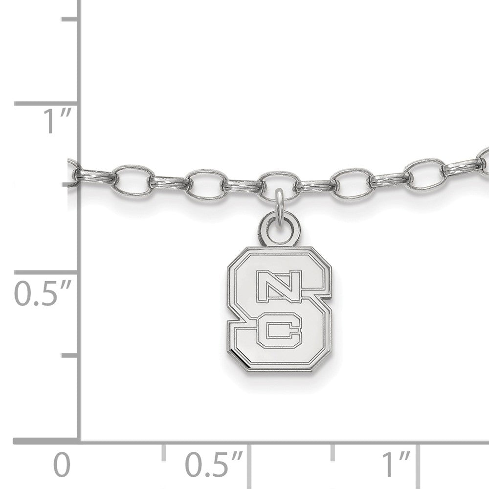 Alternate view of the NCAA Sterling Silver North Carolina State University Anklet, 9 Inch by The Black Bow Jewelry Co.