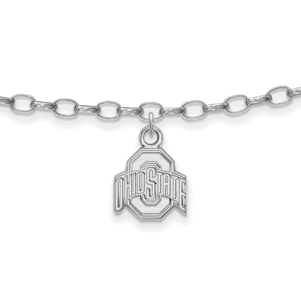 NCAA Sterling Silver Ohio State University Anklet, 9 Inch, Item A8779 by The Black Bow Jewelry Co.