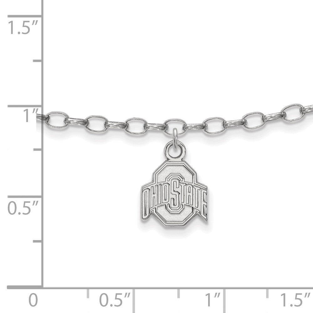 Alternate view of the NCAA Sterling Silver Ohio State University Anklet, 9 Inch by The Black Bow Jewelry Co.