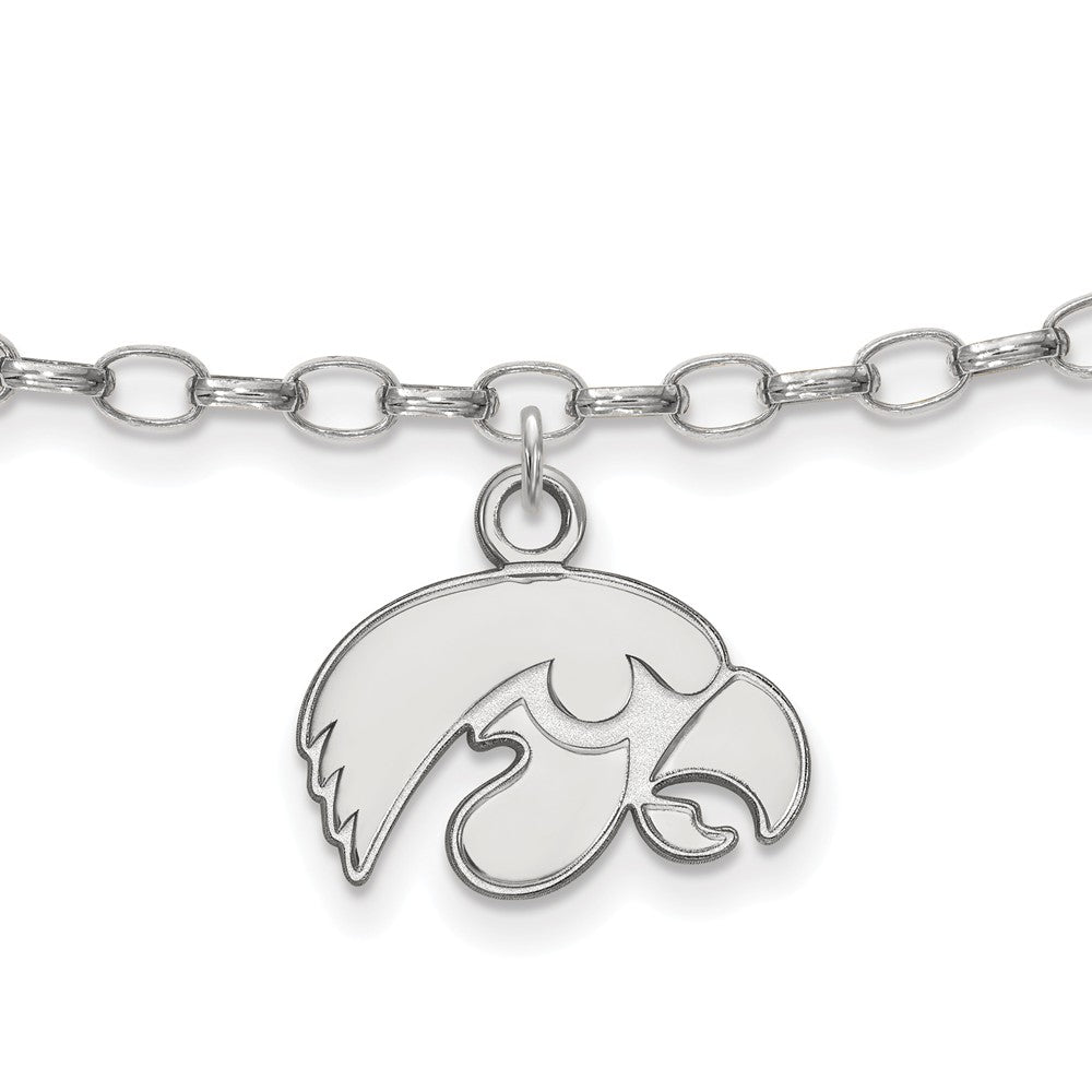Sterling Silver University of Iowa Anklet, 9 Inch, Item A8784 by The Black Bow Jewelry Co.