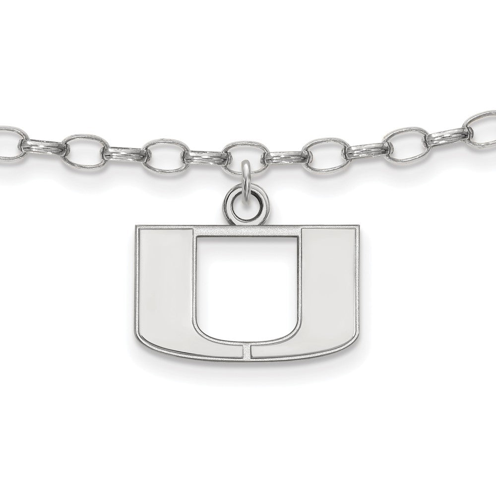 NCAA Sterling Silver University of Miami Anklet, 9 Inch, Item A8787 by The Black Bow Jewelry Co.