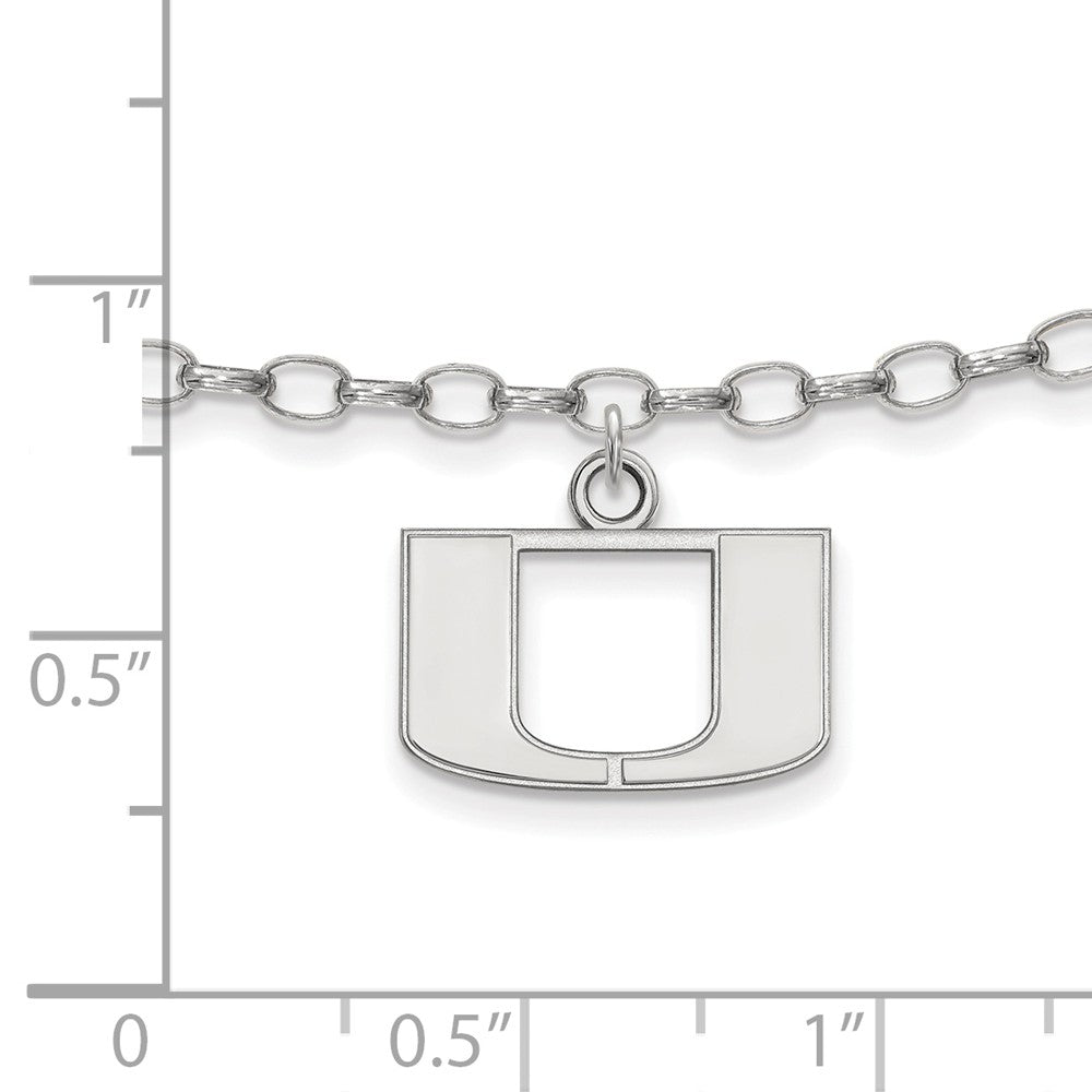 Alternate view of the NCAA Sterling Silver University of Miami Anklet, 9 Inch by The Black Bow Jewelry Co.