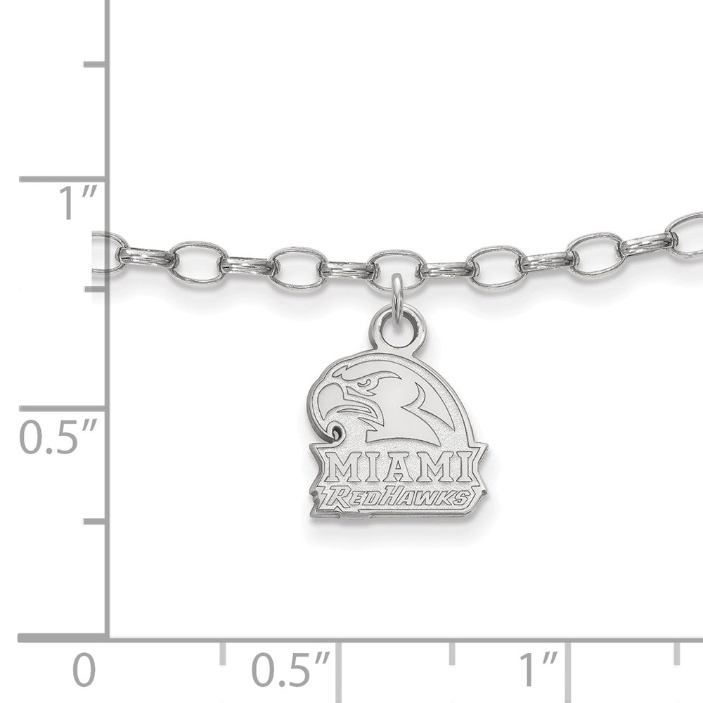 Alternate view of the NCAA Sterling Silver Miami University Anklet, 9 Inch by The Black Bow Jewelry Co.