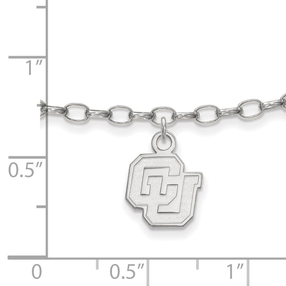 Alternate view of the NCAA Sterling Silver University of Colorado Anklet, 9 Inch by The Black Bow Jewelry Co.