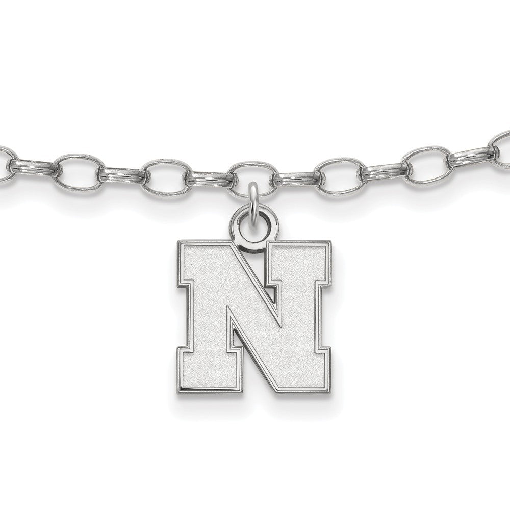 NCAA Sterling Silver University of Nebraska XS Anklet, 9 Inch, Item A8798 by The Black Bow Jewelry Co.