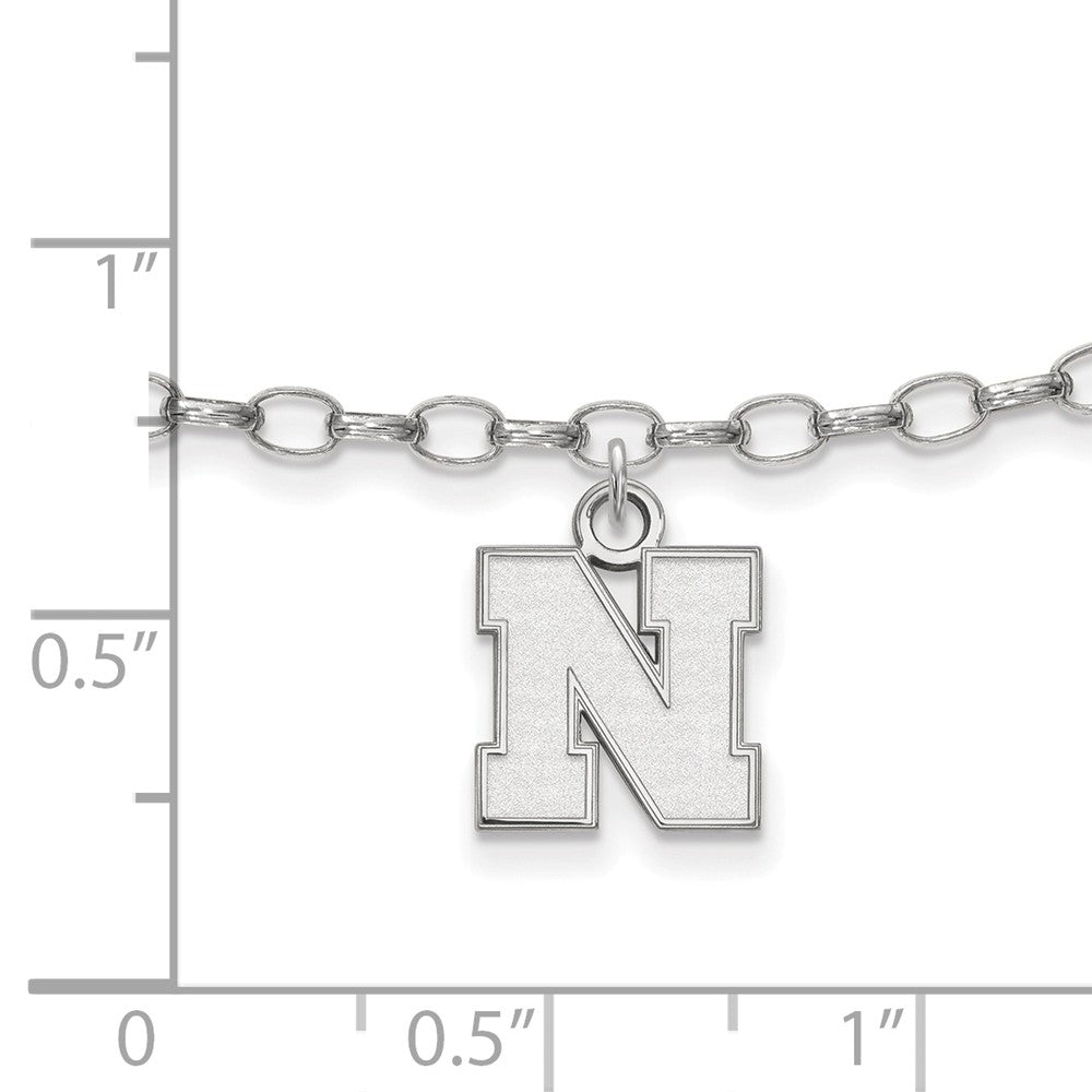 Alternate view of the NCAA Sterling Silver University of Nebraska XS Anklet, 9 Inch by The Black Bow Jewelry Co.