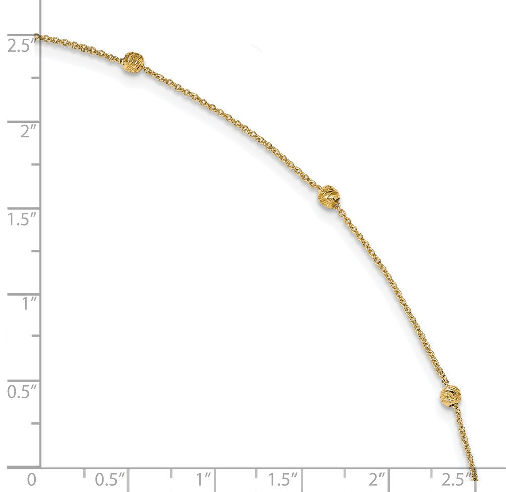 Alternate view of the 14k Yellow Gold Diamond Cut 3mm Beaded Cable Chain Anklet, 10-11 Inch by The Black Bow Jewelry Co.