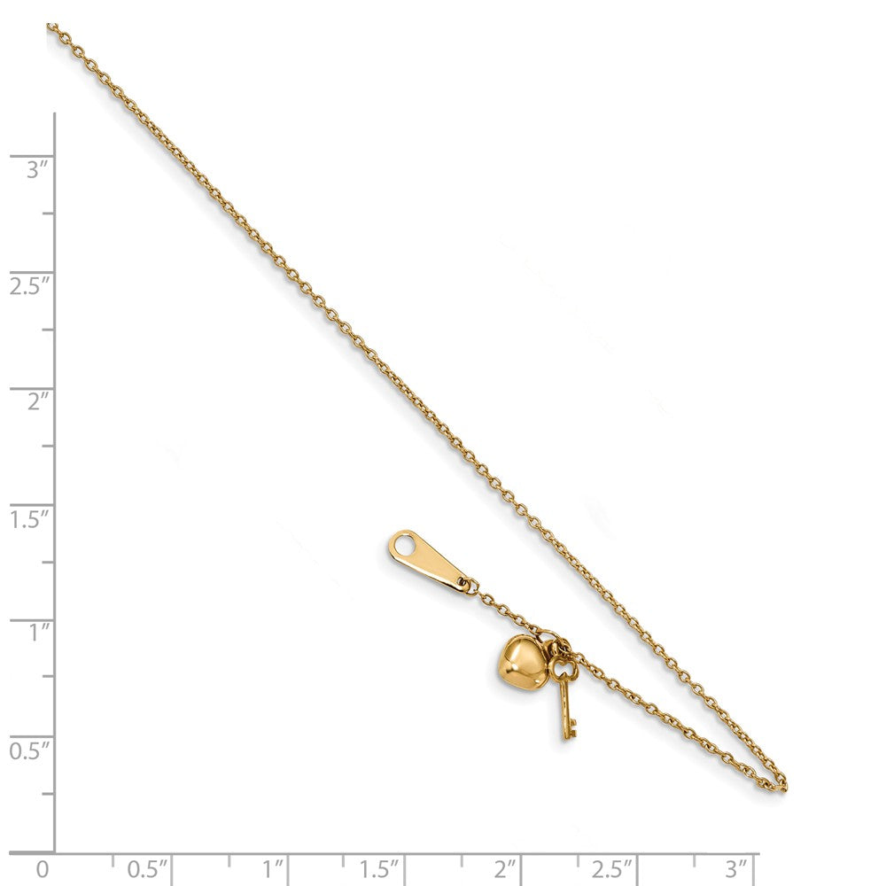 Alternate view of the 14k Yellow Gold Heart and Key 0.8mm Cable Chain Anklet, 10 Inch by The Black Bow Jewelry Co.