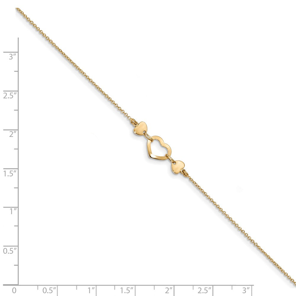 Alternate view of the 14k Yellow Gold Polished Heart And Cable Chain Anklet, 10-10.75 Inch by The Black Bow Jewelry Co.