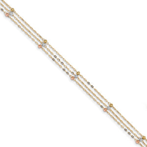 14k Tri-Color Gold 3-Strand D/C Beaded Cable Chain Anklet, 10 Inch