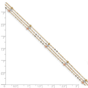 Alternate view of the 14k Tri-Color Gold 3-Strand D/C Beaded Cable Chain Anklet, 10 Inch by The Black Bow Jewelry Co.