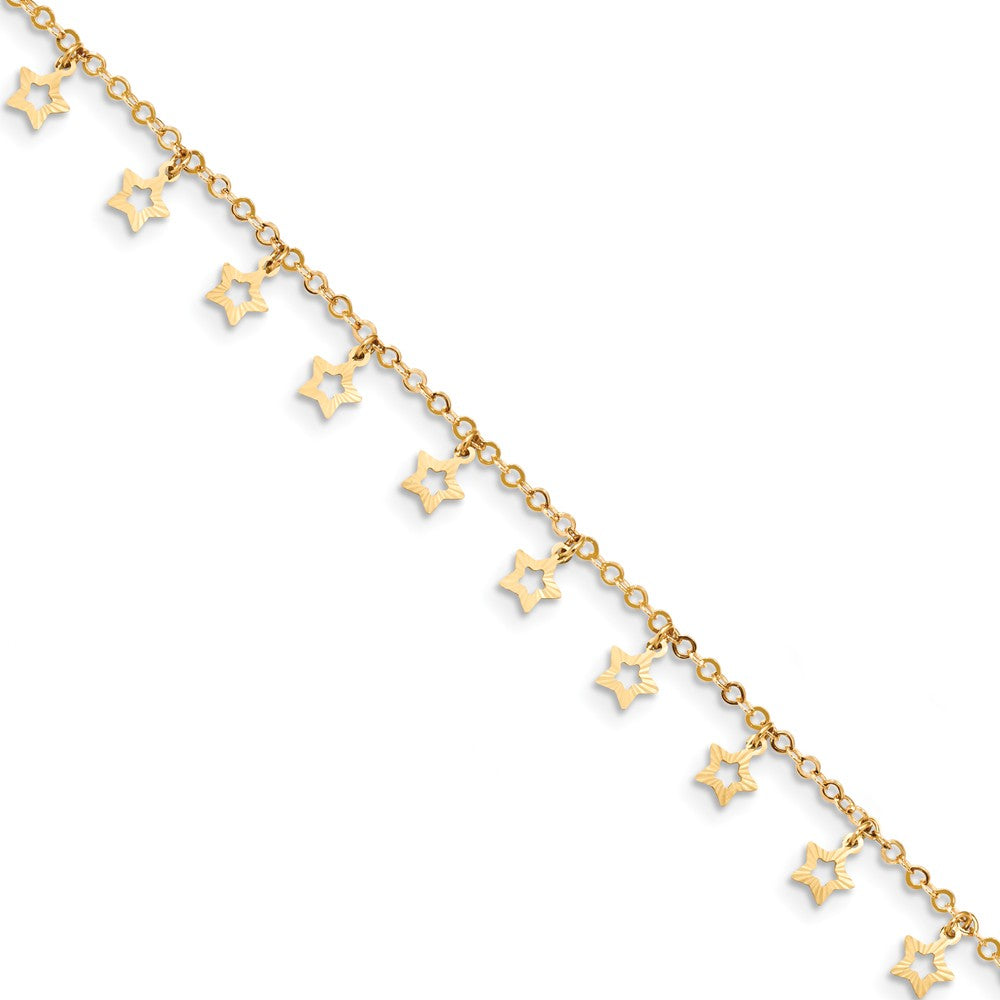14k Yellow Gold Dangling Stars 1.5mm Cable Chain Anklet, 9-10 Inch, Item A8812 by The Black Bow Jewelry Co.