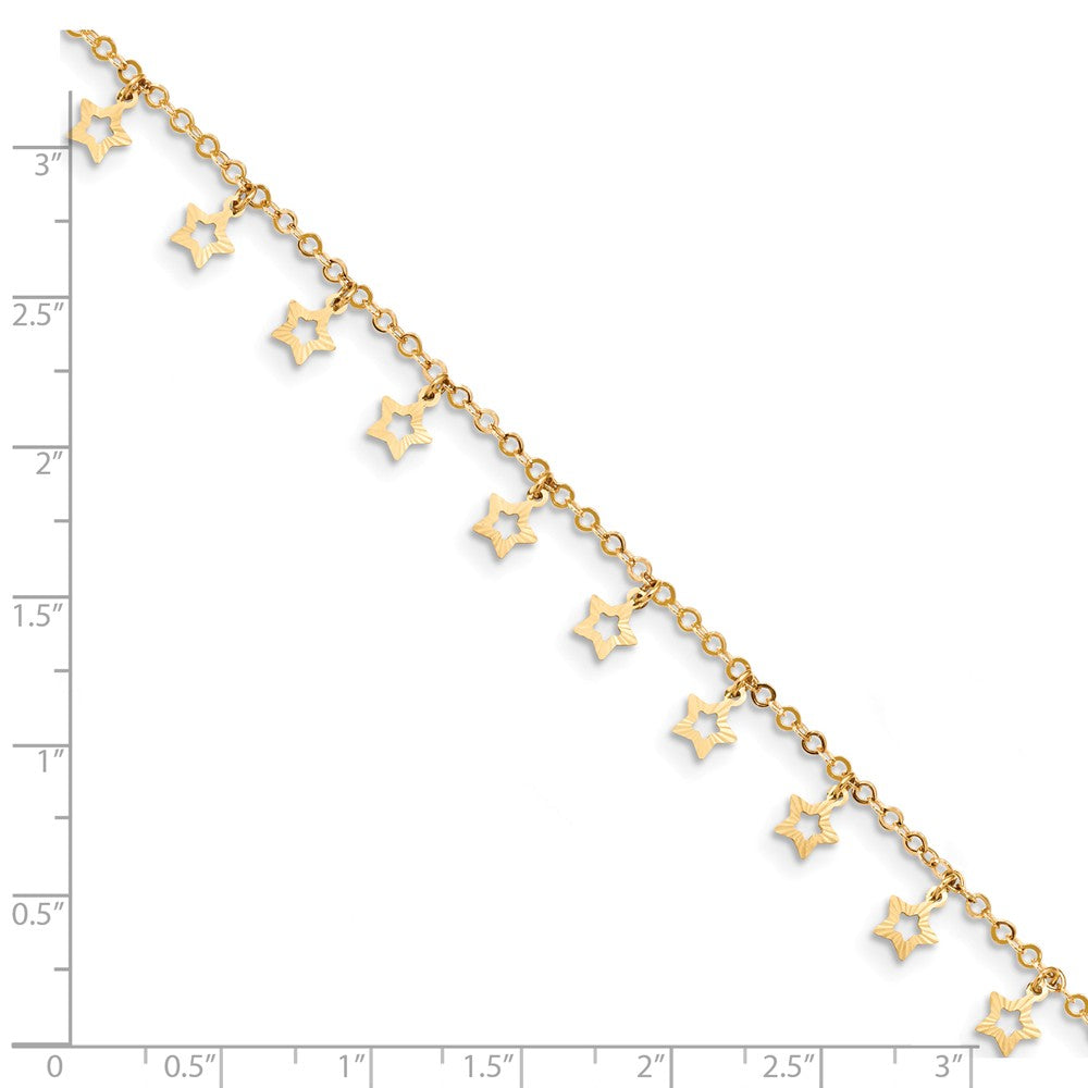 Alternate view of the 14k Yellow Gold Dangling Stars 1.5mm Cable Chain Anklet, 9-10 Inch by The Black Bow Jewelry Co.