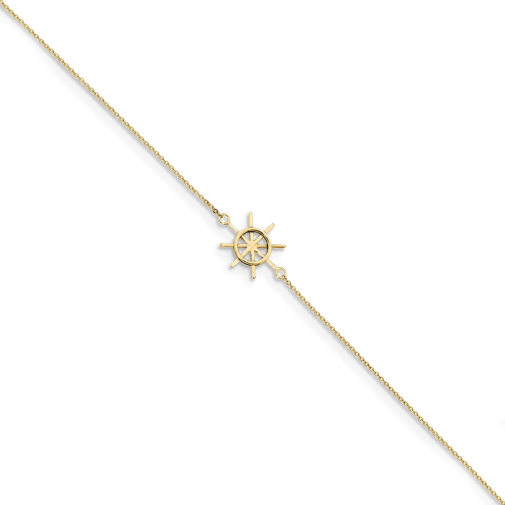 14k Yellow Gold Captains Wheel and Cable Chain Anklet, 9-10 Inch, Item A8813 by The Black Bow Jewelry Co.
