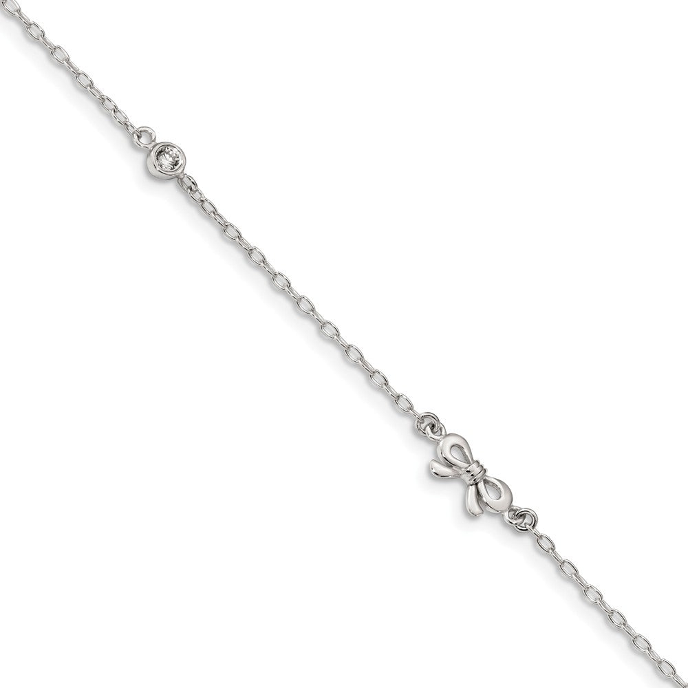 Sterling Silver CZ Bow And 1.5mm Cable Chain Anklet, 9-10 Inch, Item A8815 by The Black Bow Jewelry Co.