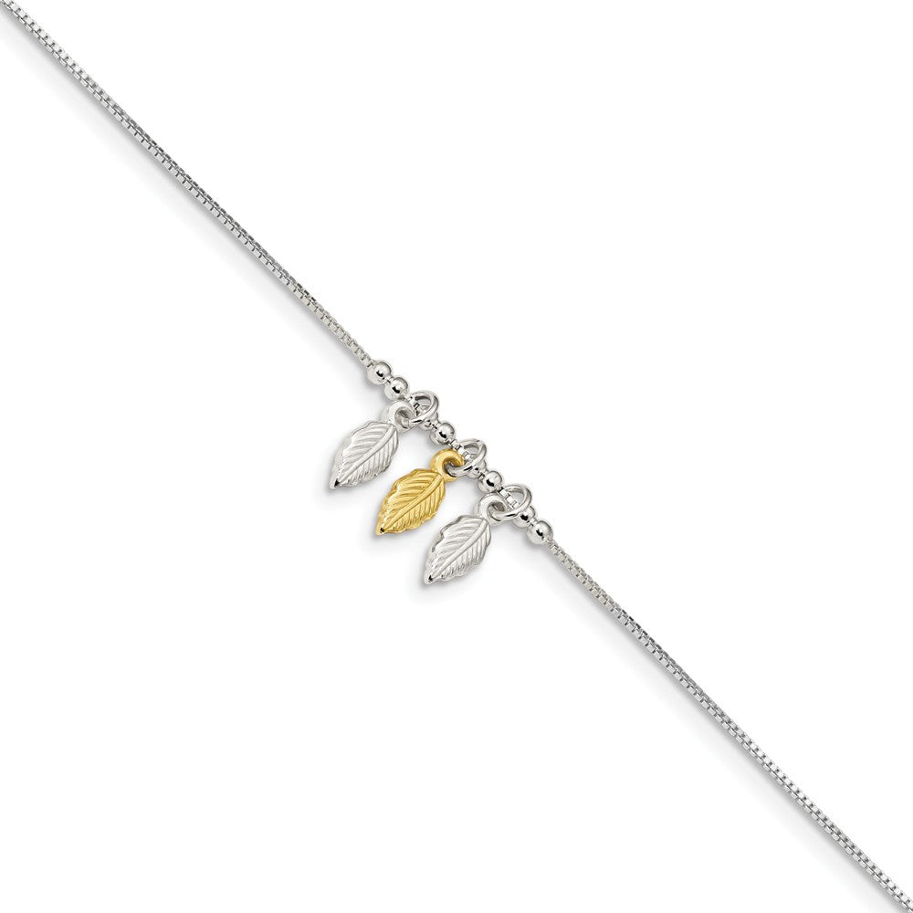 Sterling Silver and Gold-Tone Beaded Feather Anklet, 9-10 Inch, Item A8817 by The Black Bow Jewelry Co.