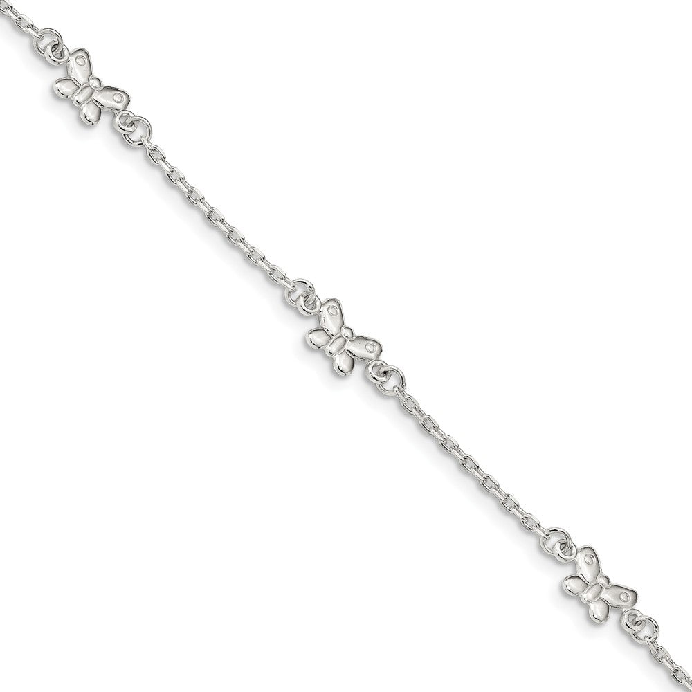 Sterling Silver Butterfly And 1.5mm Cable Chain Anklet, 9-10 Inch, Item A8828 by The Black Bow Jewelry Co.