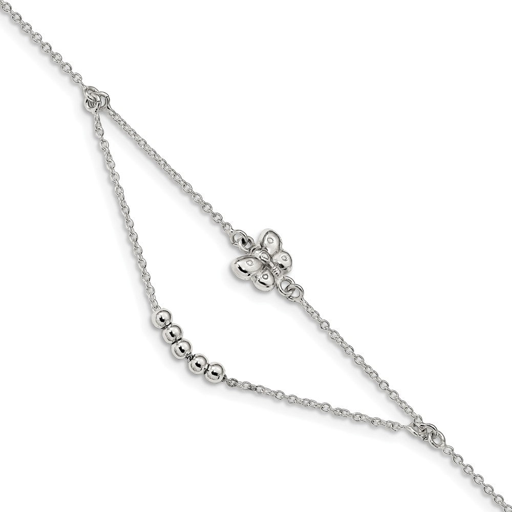 Sterling Silver Butterfly Swag Cable Chain Anklet, 9-10 Inch, Item A8830 by The Black Bow Jewelry Co.