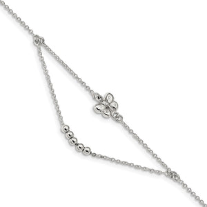 Sterling Silver Butterfly Swag Cable Chain Anklet, 9-10 Inch - The Black Bow Jewelry Co.