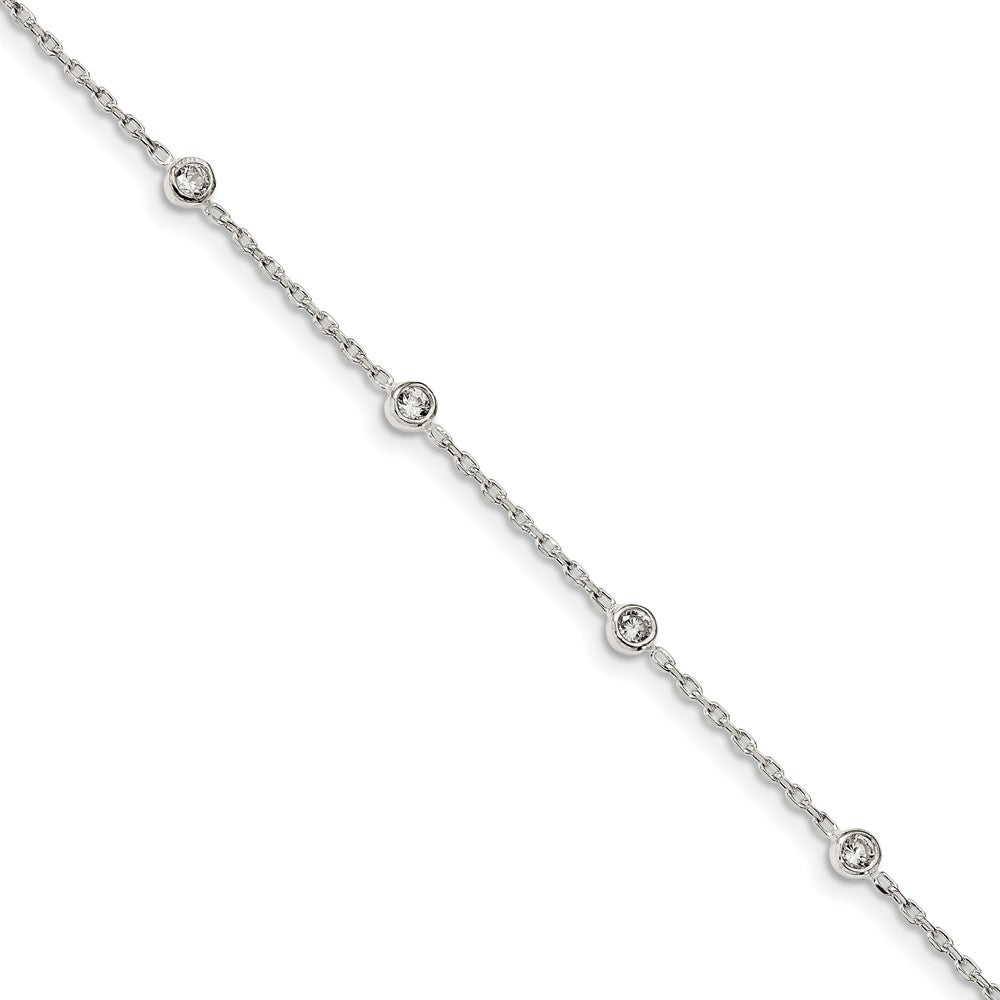 Sterling Silver Cubic Zirconia Station And Cable Chain Anklet, 9-10 In, Item A8835 by The Black Bow Jewelry Co.