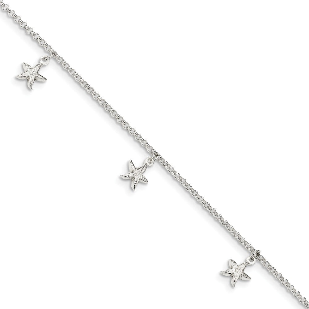Sterling Silver Starfish Dangle And 1.5mm Rolo Chain Anklet, 9-10 Inch, Item A8840 by The Black Bow Jewelry Co.