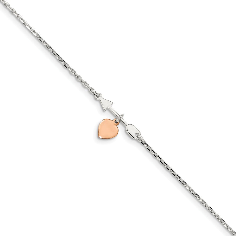 Sterling Silver Arrow Rose-Tone Heart And 1.5mm Cable Anklet, 10-11 In, Item A8844 by The Black Bow Jewelry Co.