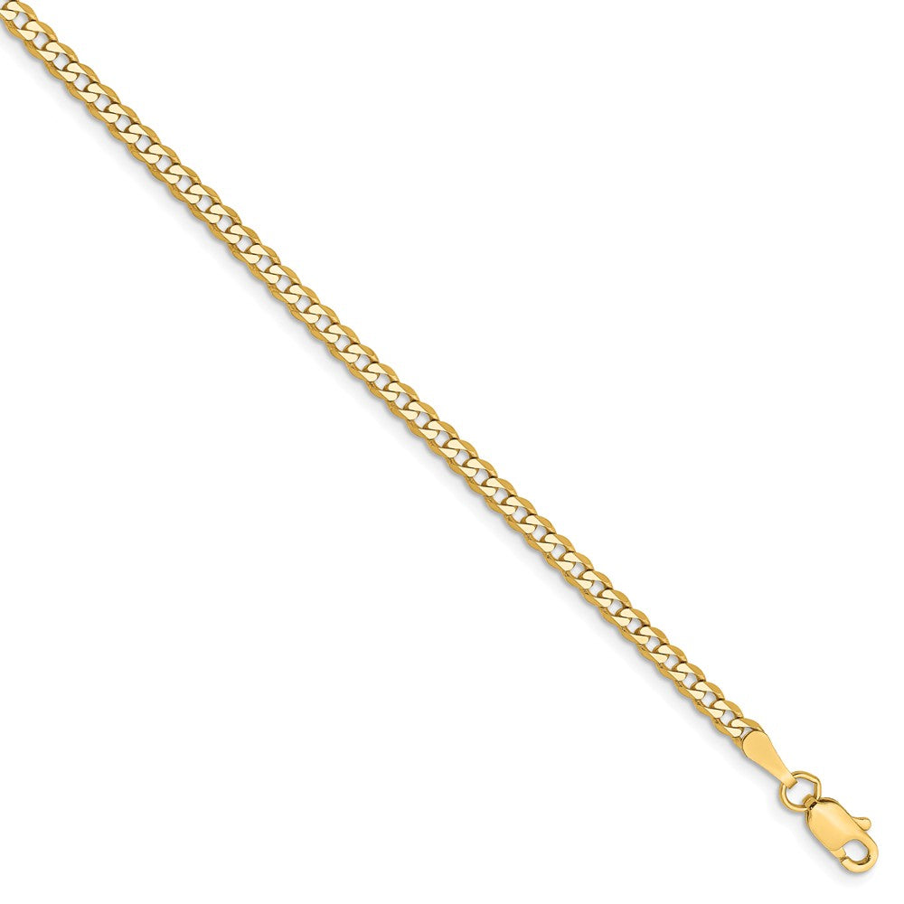 14k Yellow Gold 2.3mm Solid Beveled Curb Chain Anklet - The Black Bow Jewelry Co.