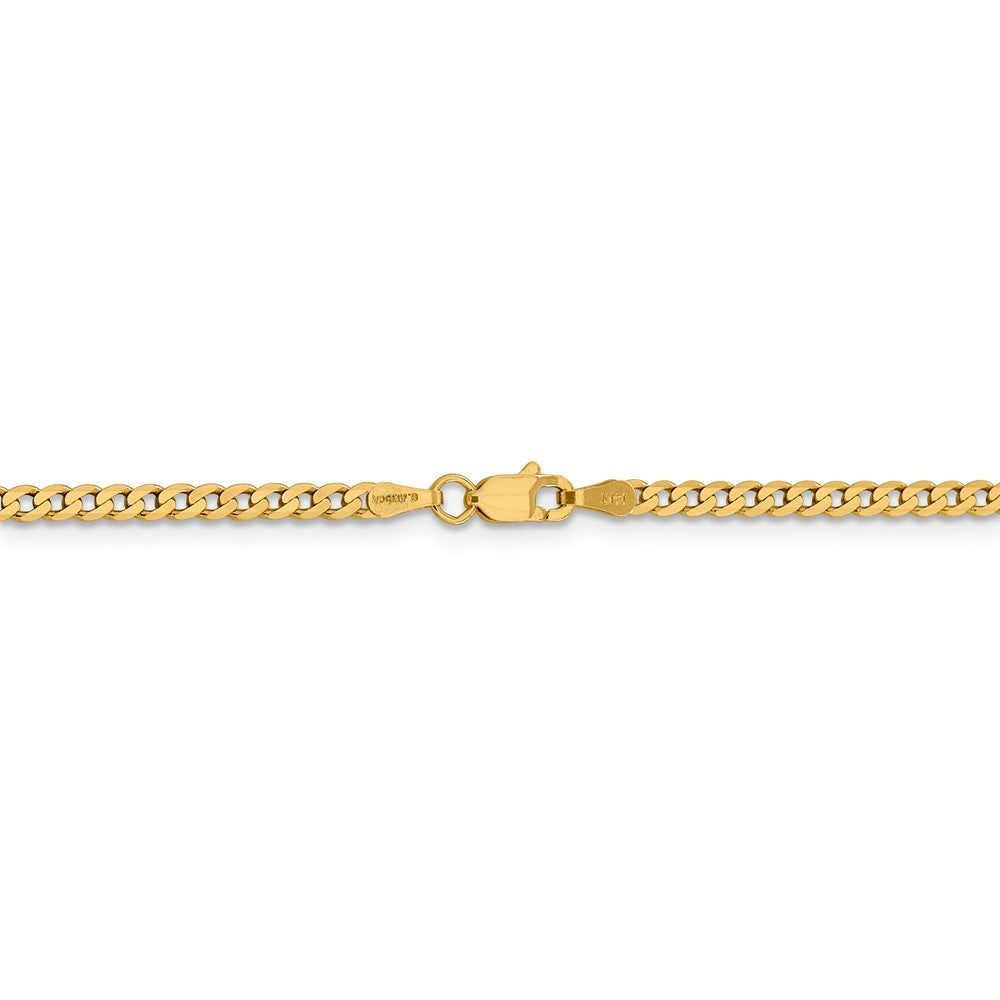 Alternate view of the 14k Yellow Gold 2.3mm Solid Beveled Curb Chain Anklet by The Black Bow Jewelry Co.