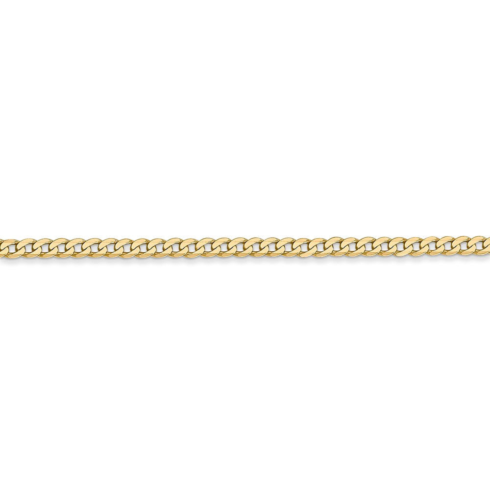 Alternate view of the 14k Yellow Gold 2.2mm Solid Beveled Curb Chain Anklet by The Black Bow Jewelry Co.