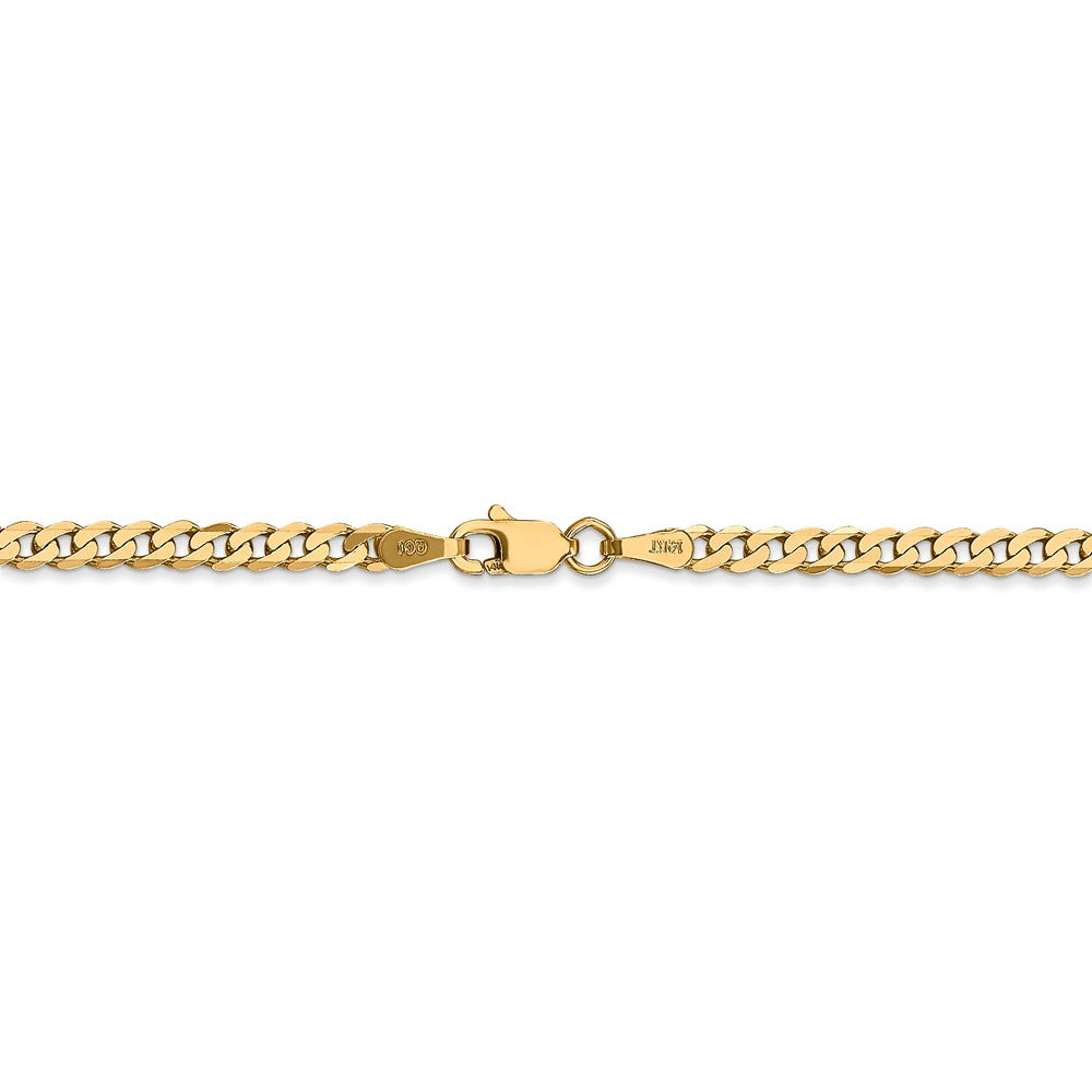 Alternate view of the 14k Yellow Gold 2.9mm Solid Beveled Curb Chain Anklet, 9 Inch by The Black Bow Jewelry Co.