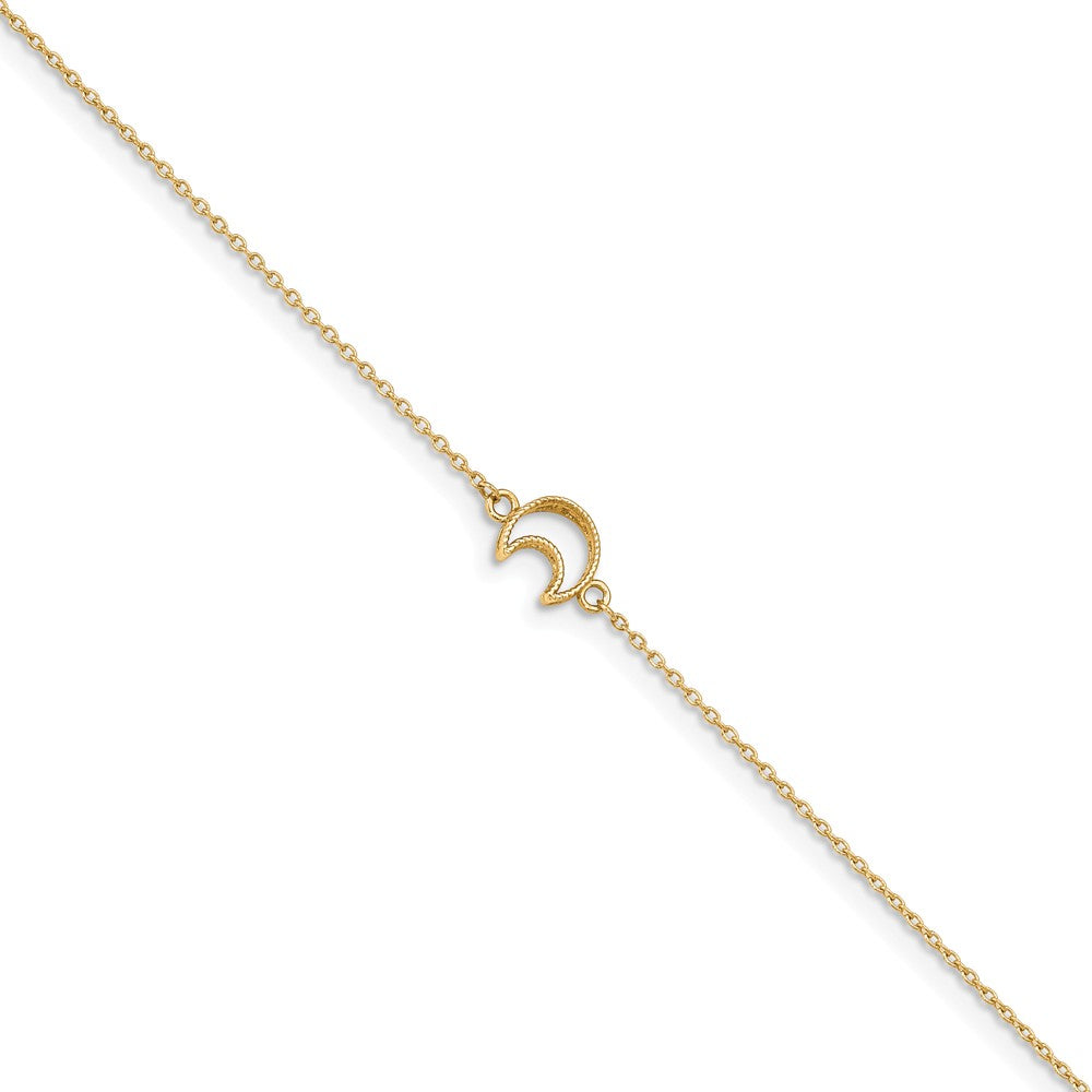 14k Yellow Gold Crescent Moon And 1mm Cable Chain Anklet, 10-11 Inch, Item A8859 by The Black Bow Jewelry Co.