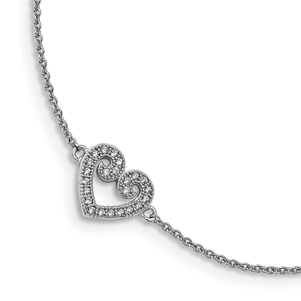 Rhodium Plated Sterling Silver 10mm CZ Heart And Cable Anklet, 9-10 In, Item A8862 by The Black Bow Jewelry Co.