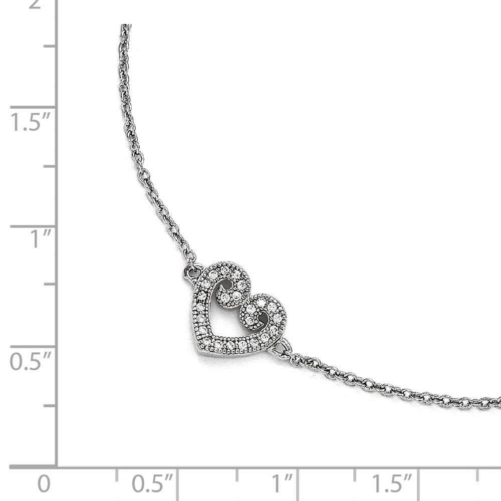 Alternate view of the Rhodium Plated Sterling Silver 10mm CZ Heart And Cable Anklet, 9-10 In by The Black Bow Jewelry Co.