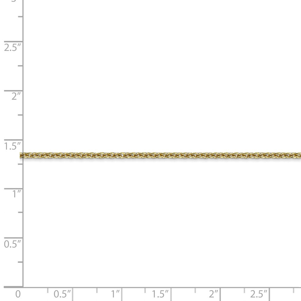 Alternate view of the 2mm 10k Yellow Gold Solid Cable Chain Anklet by The Black Bow Jewelry Co.