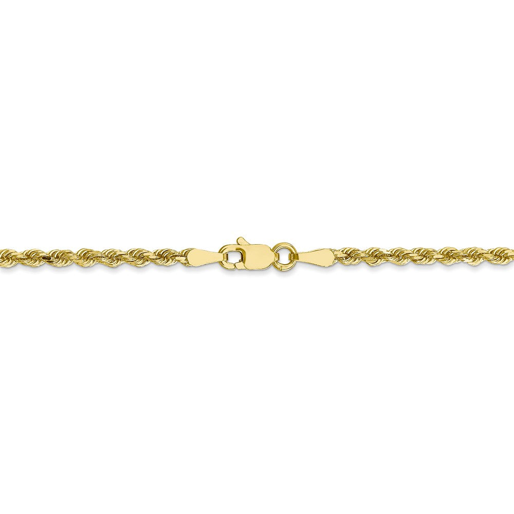 Alternate view of the 2.5mm 10k Yellow Gold Solid D/C Rope Chain Anklet or Bracelet, 9 Inch by The Black Bow Jewelry Co.