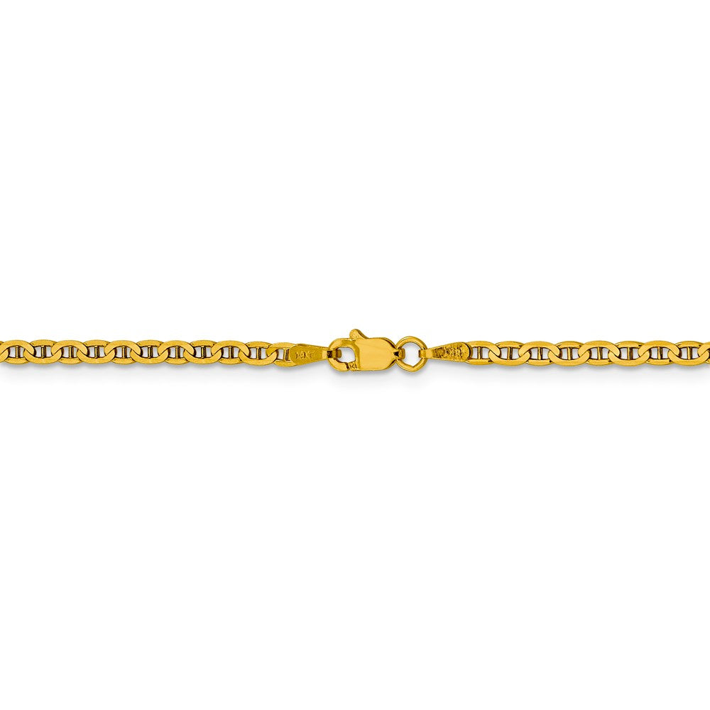 Alternate view of the 2.4mm 14k Yellow Gold Solid Concave Anchor Chain Anklet by The Black Bow Jewelry Co.