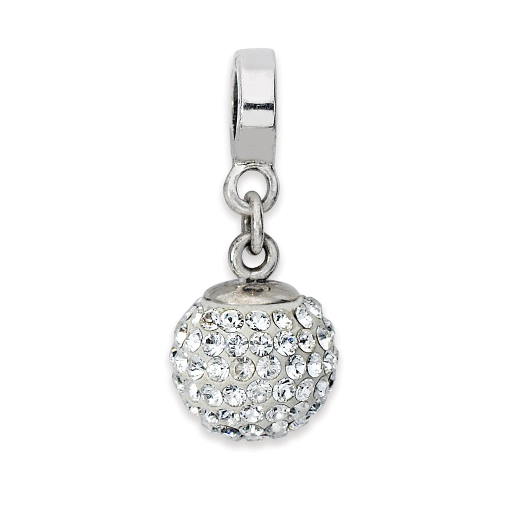 Sterling Silver with Swarovski Crystals Apr Ball Dangle Bead Charm, Item B10019 by The Black Bow Jewelry Co.